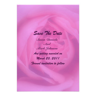 Pink Rose Petals Floral Wedding Save The Date Personalized Announcements