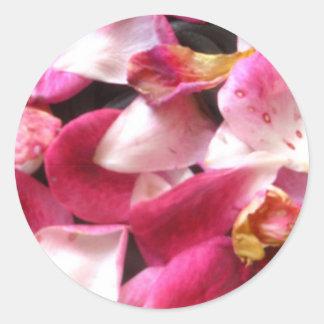 Pink Rose Petals Round Sticker