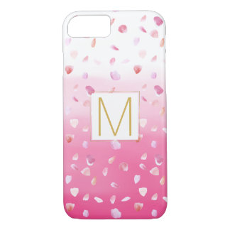 Pink Rose Petals Watercolor Ombre Gold Monogram iPhone 8/7 Case