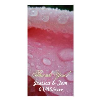 Pink Rose Petals wedding Customized Photo Card