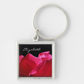 Pink Rose Petals With Name Silver-Colored Square Key Ring