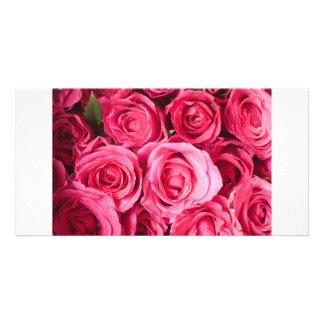 pink rose photo card