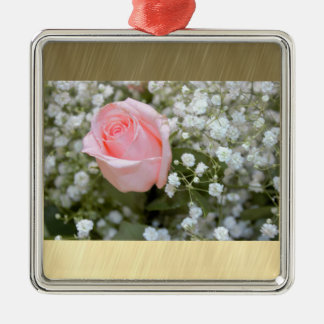 Pink Rose Photo Christmas Ornament