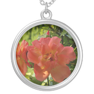 Pink Rose Photo Large Silver Plated Round Necklace