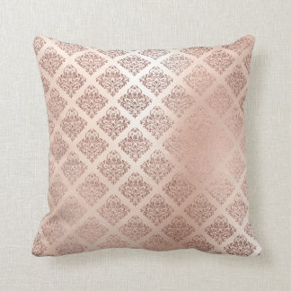 Pink Rose Powder Gold Metallic Damask Royal Decor Cushion