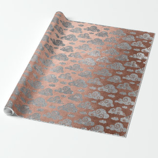 Pink Rose Powder Gold Silver Glitter Clouds Wrap Wrapping Paper