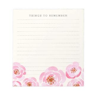 Pink Rose Print Memo Notepad