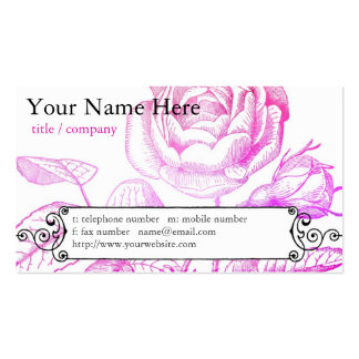 Pink Rose Profile Card Business Card Template