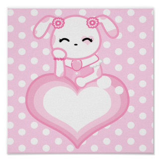 Pink Rose Puppy Poster