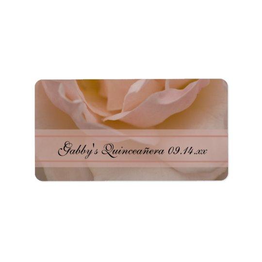 Pink Rose Quinceañera Favour Tags Address Label