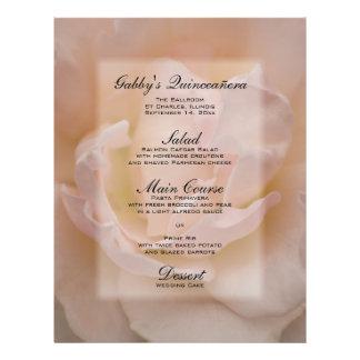 Pink Rose Quinceañera Menu 21.5 Cm X 28 Cm Flyer