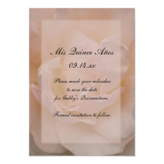 "Pink Rose Quinceañera Save the Date 5"" X 7"" Invitation Card"