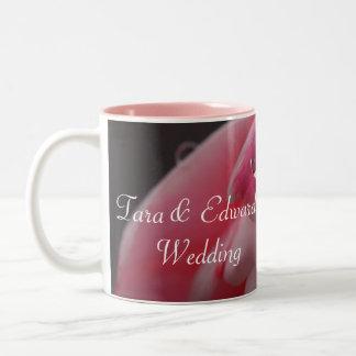 Pink Rose Raindrop Wedding Two-Tone Mug