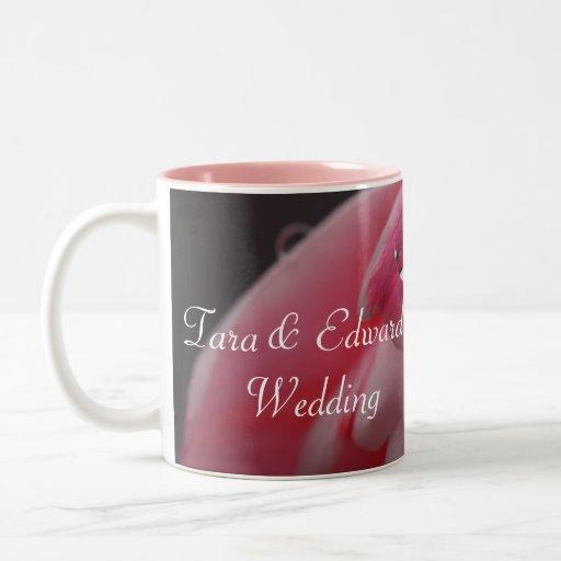 Pink Rose Raindrop Wedding Mug