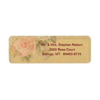 Pink Rose Return Address Label