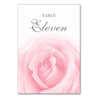 Pink Rose Romance Wedding Table Number 11 Card Table Card