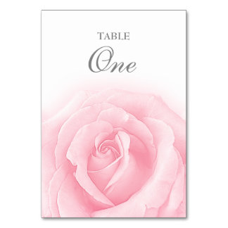 Pink Rose Romance Wedding Table Number 1 Table Cards
