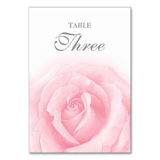 Pink Rose Romance Wedding Table Number 3 Table Card