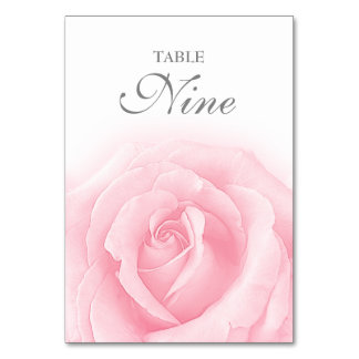 Pink Rose Romance Wedding Table Number 9 Table Card