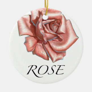 Pink Rose Round Ceramic Decoration
