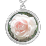 Pink Rose Round Pendant Necklace