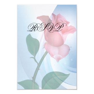 "Pink  Rose RSVP Invitation 3.5"" X 5"" Invitation Card"