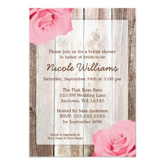 Pink Rose Rustic Barn Wood Bridal Shower 13 Cm X 18 Cm Invitation Card