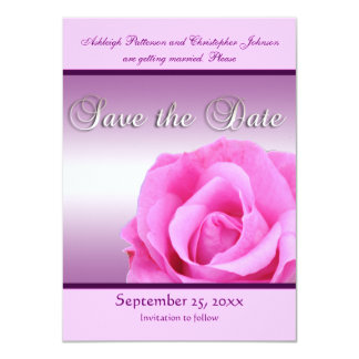 Pink Rose Save the Date Announcement