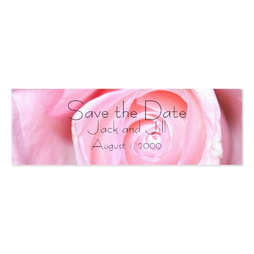 Pink Rose, Save the Date Business Cards