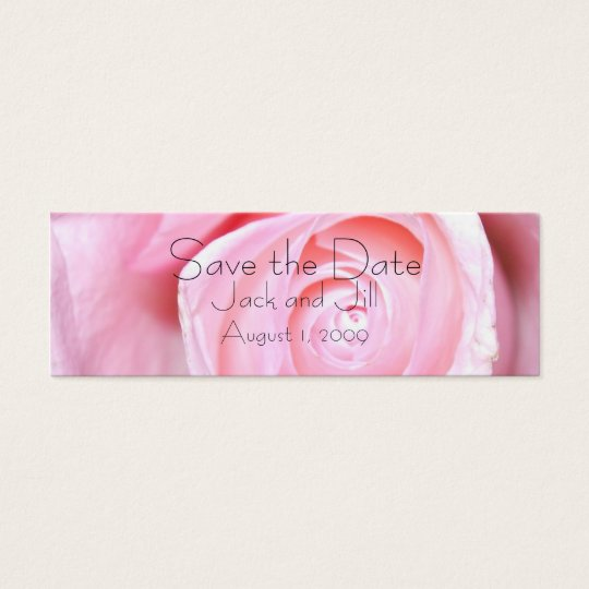 Pink Rose, Save the Date Mini Business Card