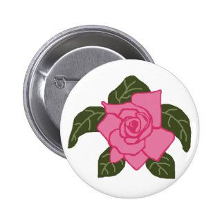 Pink rose sea turtle button