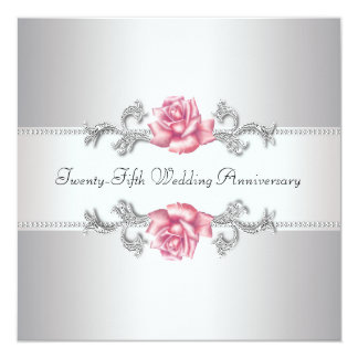 Pink Rose Silver 25th Wedding Anniversary 13 Cm X 13 Cm Square Invitation Card