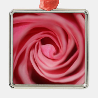 Pink Rose Silver-Colored Square Decoration