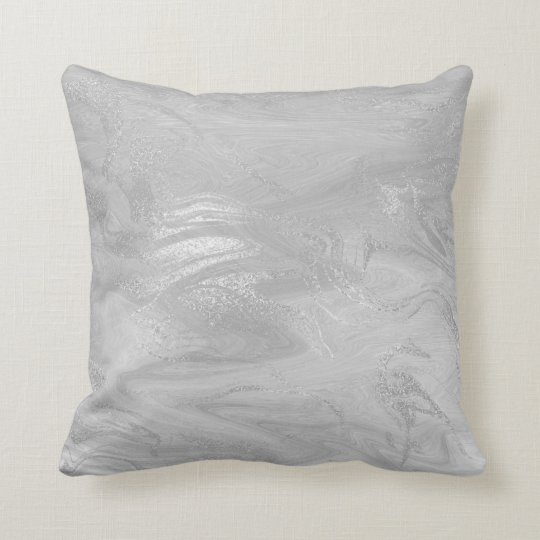 Pink Rose Silver Marble Molten Grey Abstract Cushion ...
