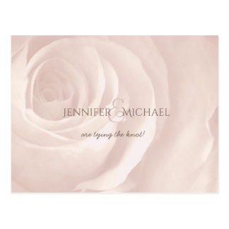 pink rose simple elegant wedding save the date postcard