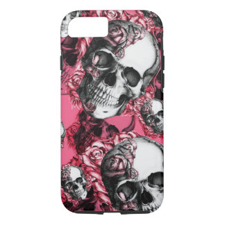 Pink rose skull pattern iPhone 7 case