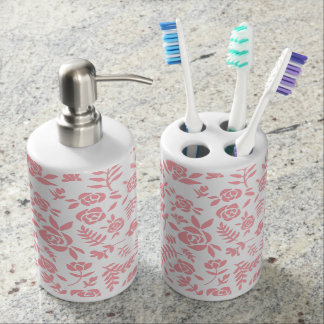 Pink Rose Soap Dispenser And Toothbrush Holder