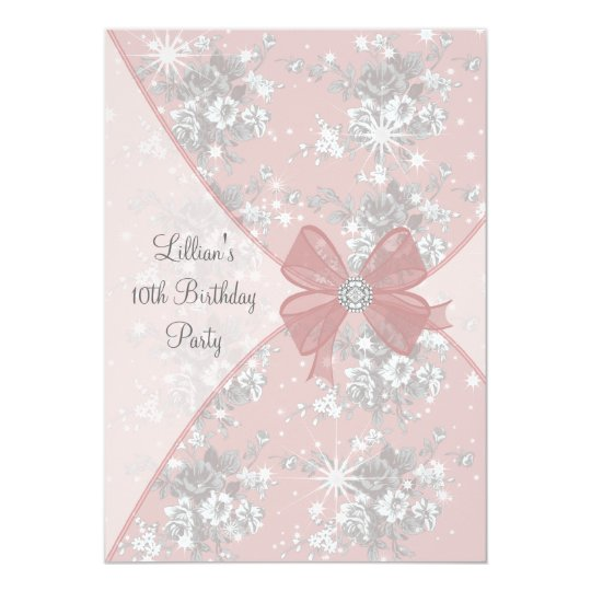 Pink Rose Sparkle Girls Birthday Party Invitation