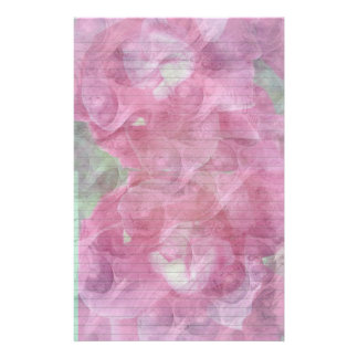Pink Rose stationery - optional lines