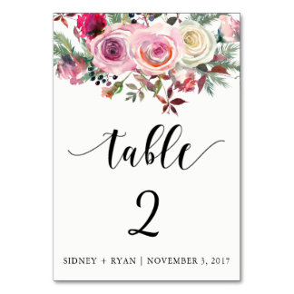 PINK ROSE Table Card Customizable Front and Back