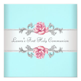 Pink Rose Teal Girls Teal First Communion Personalized Invitations