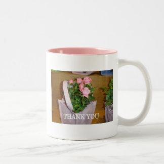 """Pink rose """"Thank you"""" basket Two-Tone Mug"""