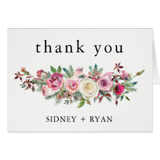 PINK ROSE Thank You Cards Wedding Blush Bouquet