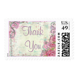 Pink Rose Thank You Stamp