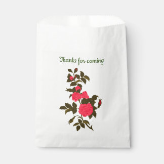 """Pink Rose """"Thanks for coming"""" Favour Bags"""