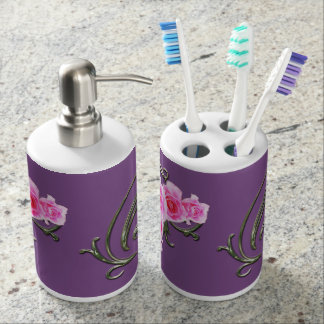 Pink Rose,Toothbrush Holder and Soap Dispenser Set