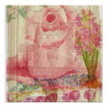 Pink Rose Victorian Watercolor FlowersCollage Poster