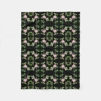 Pink Rose Vine on Black Background Blanket