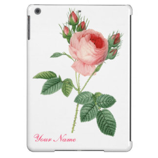 Pink rose vintage botanical illustration iPad air covers