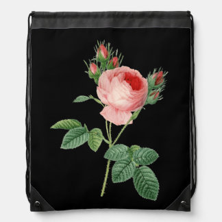 Pink rose vintage botanical illustration dark drawstring bag